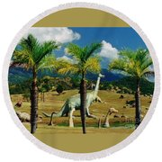 Landscape With Dinosaurs Round Beach Towel