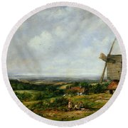 Landscape With Figures By A Windmill Round Beach Towel