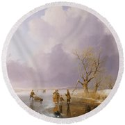 Landscape With Frozen Canal Round Beach Towel