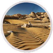 Landscape With Mountains In Egyptian Desert Round Beach Towel
