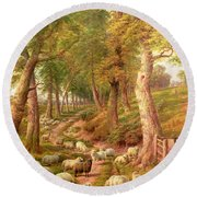 Landscape With Sheep Round Beach Towel