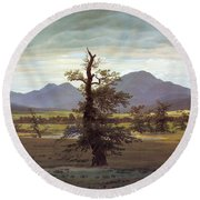 Landscape With Solitary Tree Round Beach Towel