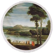 Landscape With St. John Baptising Round Beach Towel