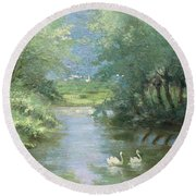 Landscape With Swans Round Beach Towel
