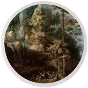 Landscape With The Temptation Of Saint Anthony Round Beach Towel