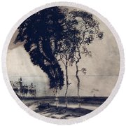 Landscape With Three Trees Round Beach Towel