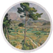 Landscape With Viaduct Round Beach Towel