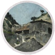 Landscape With Water Mill, C.1871 Round Beach Towel