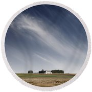 Landscape With White Country Church Round Beach Towel
