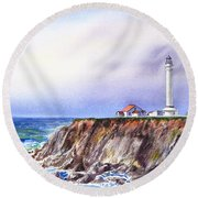 Lighthouse Point Arena California  Round Beach Towel