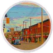 Landsdowne Condos 5th Avenue The Glebe Ottawa Street Scene Paintings Carole Spandau Canadian Art Round Beach Towel