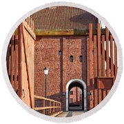 Landskrona Citadel In Sweden Round Beach Towel