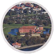 Landskrona Citadel Photographed From The Air Round Beach Towel