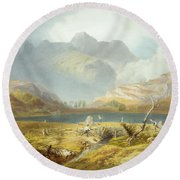 Langdale Pikes, From The English Lake Round Beach Towel