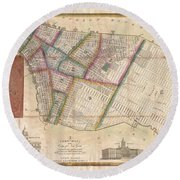 Langdon Pocket Map Of New York City Round Beach Towel