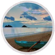 Lanikai Beach Sunrise 6 - Kailua Oahu Hawaii Round Beach Towel
