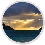 Lanikai Beach Sunrise Panorama 2 - Kailua Oahu Hawaii Round Beach Towel