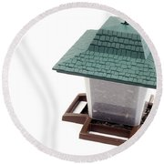 Lantern Bird Feeder Round Beach Towel