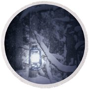 Lantern In Snow Round Beach Towel by Joana Kruse