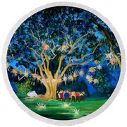 Lantern Tree Round Beach Towel