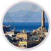 Lanterna - Lighthouse In Genova Round Beach Towel