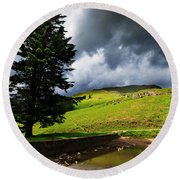 Lanty's Tarn On A Stormy Afternoon Round Beach Towel