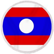 Laos Flag Round Beach Towel