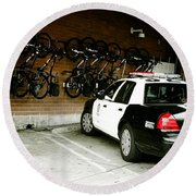 Lapd Cruiser And Police Bikes Round Beach Towel by Nina Prommer