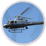 Lapd In Flight Round Beach Towel