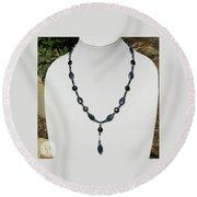 Lapis Lazuli And Black Onyx Lariat Necklace 3675 Round Beach Towel