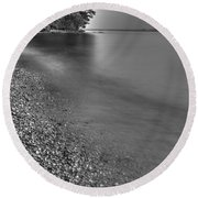 Lapping Waters On The Shore Round Beach Towel