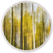 Larch Grove Blurred Round Beach Towel