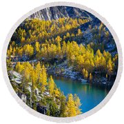 Larches At Perfection Lake Round Beach Towel