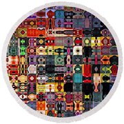 Larg Blocks Digital - Various Colors I Round Beach Towel