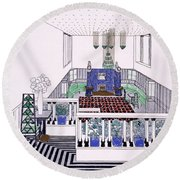 Large Balconied Reception Room Round Beach Towel