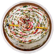 Large Ball Of Colorful Yarn Round Beach Towel