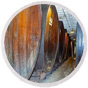 Large Barrels At Korbel Winery In Russian River Valley-ca Round Beach Towel