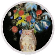 Large Bouquet On A Black Background Round Beach Towel by Odilon Redon