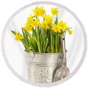 Large Bucket Of Daffodils Round Beach Towel by Amanda Elwell