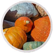 Large Edible Gourds Round Beach Towel