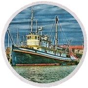 Large Fishing Boat Hdr Round Beach Towel