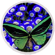 Large Green Butterfly Round Beach Towel