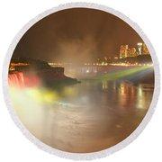 Large Niagara Nighttime Panorama Round Beach Towel