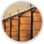 Large Scale Industrial Greenhouse Lit By Sunet Round Beach Towel