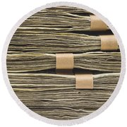 Large Stack Of American Cash Money Round Beach Towel