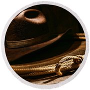 Lariat And Hat Round Beach Towel