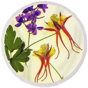Larkspur And Columbine Round Beach Towel