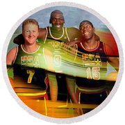 Larry Bird Michael Jordon And Magic Johnson Round Beach Towel by Marvin Blaine