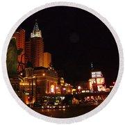 Las Vegas At Midnight Round Beach Towel