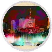 Las Vegas Bellagio Painting Round Beach Towel